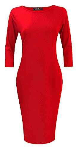 POZON Womens Knitting Classic Long Sleeve Bodycon Slim Fit Midi Dresses Red 2XL