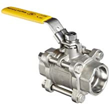 Merit Brass Stainless Steel 316 Ball Valve, Three Piece, Full Port, Lever, Socket Weld