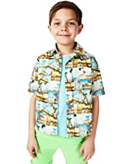 Pure Cotton Assorted Contrast Print Shirt & T-Shirt Set