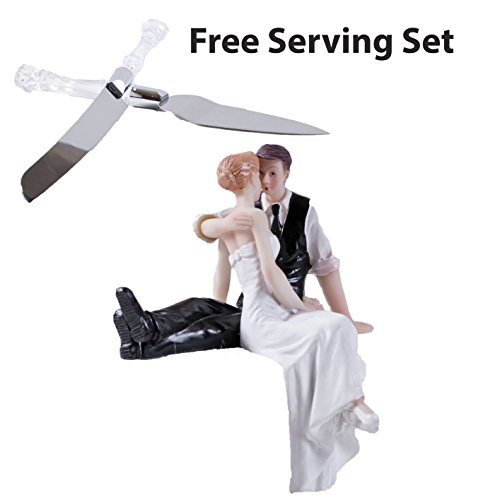 Cake Topper Pros - Ceramic Romantic Tender Touch 5 ½ Inches Tall Wedding Bride & Groom Figurine With 13 Inch Long Silver Plated Formal Knife And Server Set, Faux Crystal