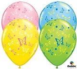 """(12) Assorted Butterflies 11"""" Latex Balloons"""