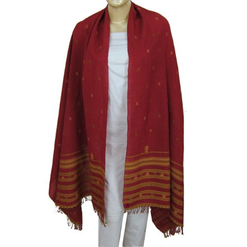 Womens Shawls Tribal Embroidered Wool Wrap 203 x 101 Cm