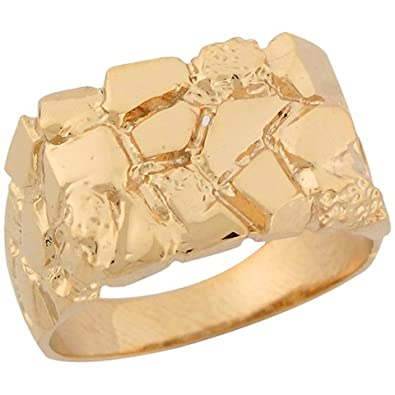 9ct Solid Yellow Gold Rectangular Polished Young Womens Nugget Ring
