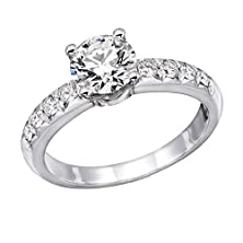 buy 14K White Gold Brilliant Round Cut Diamond Engagement Ring (0.90 Cttw, J-K Color, I1-I2 Clarity) - Size 9.5