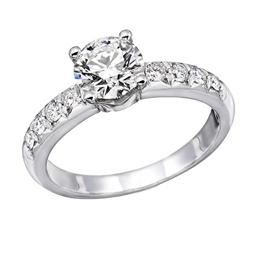 14K White Gold Brilliant Round Cut Diamond Engagement Ring (0.90 cttw, J-K Color, I1-I2 Clarity) - Size 8