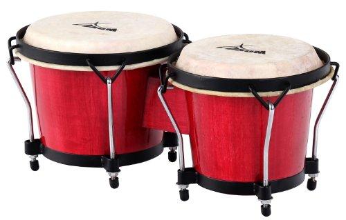 """XDrum - Bongo standard, tamburo Macho da 17 cm (6 3/4"""") e tamburo Hembra da 20 cm (8""""), in legno e pelle naturale, Rosso vino"""