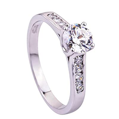 925 Sterling Silver Swarovski Elements Crystal Diamond Accent Love Forever Eternity Engagement Wedding Rings for women men teenage girls, Size Sizer uk M J L K T N P Q R O I S V Z, with a Gift Box, Ideal Gift for Birthdays / Christmas / Wedding---Size: P