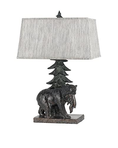 Cal Lighting Bear 1-Light Table Lamp With Shade, Antique Bronze
