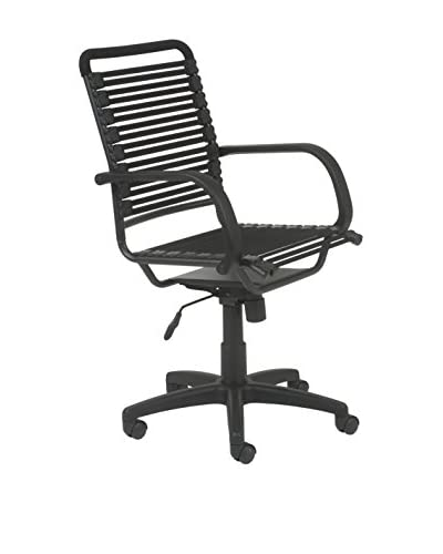 Euro Style Bungie Flat High Back Office Chair, Black