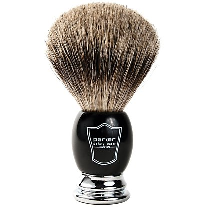 100% Pure Badger Bristle Shaving Brush with Black Deluxe Handle & Free Stand from Parker Safety Razor