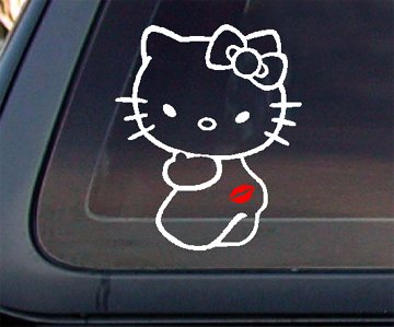 Hello Kitty Kiss My Ass with RED Lip Car Decal / Sticker