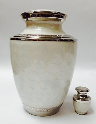 Adult Size Solid Brass Gorgeous Funeral Cremation Urn W/keepsake (Urns Funeral compare prices)