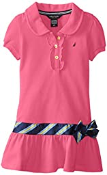 Nautica Little Girls\' Pique Polo Dress with Gold Buttons, Pink, 2T