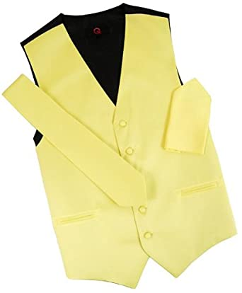Men's Solid Yellow Tuxedo Vest Set at Amazon Men's Clothing store