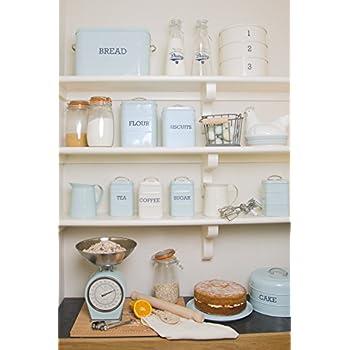 KitchenCraft Living Nostalgia Vintage Metal Tea Teabag Storage Tin in Blue LNTEABLU