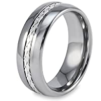 Domed Tungsten Carbide Ring with Sterling Silver Rope Inlay (8.0mm) - Size 8.0