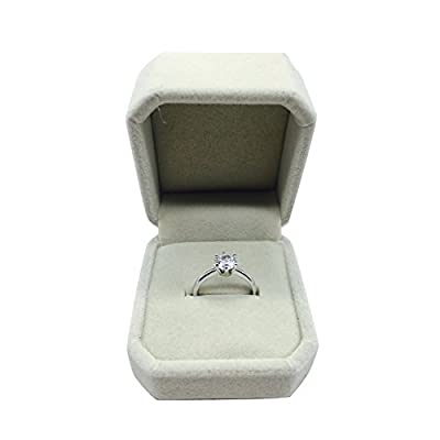 Maikun Women's Ring 18k White Gold Plated 6 Prong Solitaire Cubic Zircon Engagement Ring
