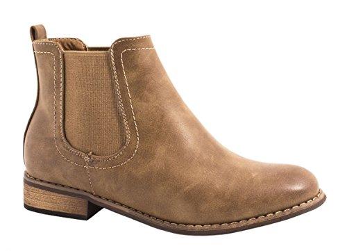 Elara Chelsea Boots | Bequeme Damen Stiefeletten | Lederoptik Blockabsatz Farbe Khaki, Größe 39