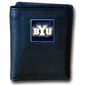 College Tri-fold Leather Wallet - BYU Cougars