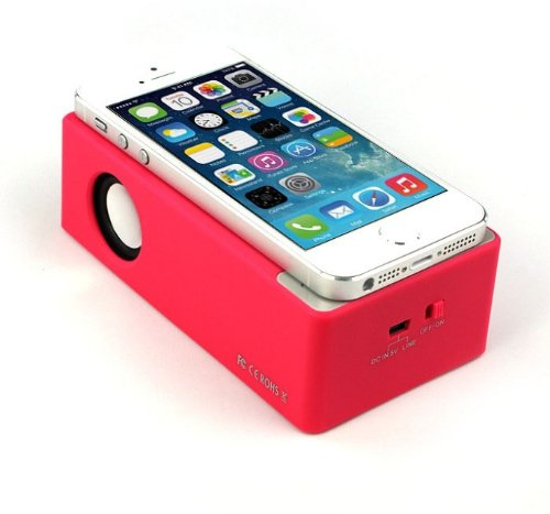 Amtonseeshop New Fashion Interaction Wireless Speaker For Iphone 4Gs 5G/5S/5 I9300 I9500 Mp3 (Hot Pink)