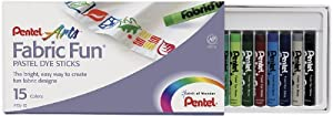 Pentel Arts Fabric Fun Pastel Dye Sticks, 15 Color Set (PTS-15)
