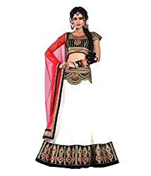 Bhavya Enterprise White & Black Net Lehenga
