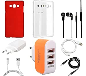 NIROSHA Cover Case Charger Headphone USB Cable car for Samsung Galaxy ON7 - Combo