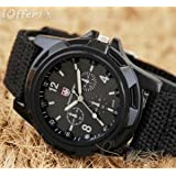 Mens Black Army Military Pilot Aviator Swiss Outdoor Sports Watch-Fabric/Canvas Strap 17-21cm-Decorative dial 4cm-Luminous Hands
