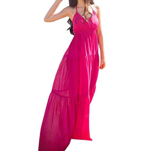Sexy Women Boho Halter Low-Cut Long Dress Beach Dresses Size M