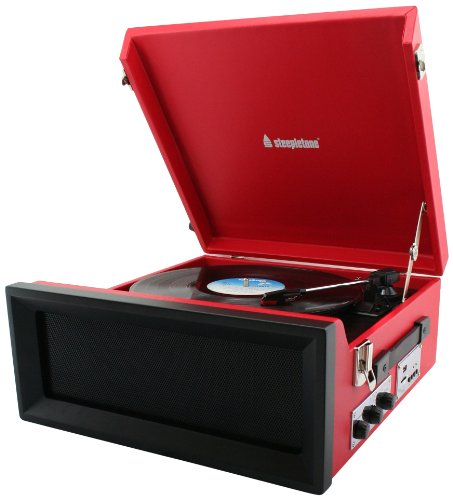 Steepletone SRP1R-11 Retro Style 3 Speed Record Player with Radio - Red Black Friday & Cyber Monday 2014