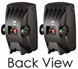 """Yamaha All Weather Indoor & Outdoor Wall Mountable Natural Sound 120 watt 2-way Acoustic Suspension Speakers (Set of 4) Black With 5"""" High Compliance Woofer 1/2"""" PEI Dome Tweeter & Wide Frequency Response + 100 ft 16 Gauge Speaker Wire - Compatible with All Audio / Video Receivers Components CD Players & Home Theater Sound Systems"""