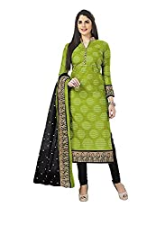 Vaamsi Women's A-Line Printed Salwar Suit Dress Material(Deep1051_Green_Free Size)