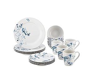 Paula Deen Indigo Blossom Stoneware 16-pc. Dinnerware Set