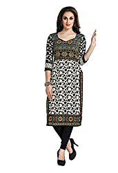 CHINTAN TEXTILES Ethnicwear Women's Unstitched Kurti Fabric Off-White Free Size