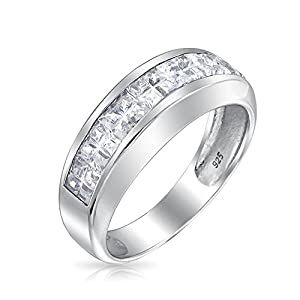 Bling Jewelry Sterling Silver Wedding Band Invisible Cut CZ Unisex Mens Ring With Free Engraving