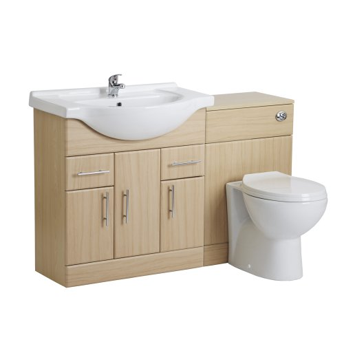 750mm Beech Bathroom Vanity Furniture One Tap Hole Basin Sink and Toilet WC Set Excluding Tap