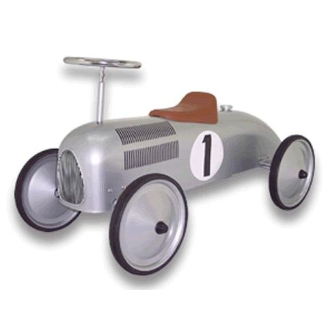 Classic Racer Speedster Silver Foot to Floor Ride On Car