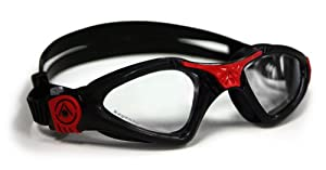Aqua Sphere Kayenne Goggle With Low Profile Clear Lens, Black/Red, Small