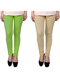 Snoogg Womens Ethnic Chic Inspired Churidar Leggings In Light Green And Beige