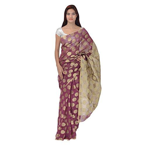 Saundarya Sarees Women Supernet Banarasi Purple Saree