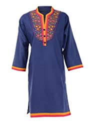 Neelima Fashion Women's Linen Regular Fit Kurta (HOR0005, Navy Blue, X-Large)