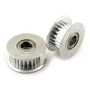 [3D CAM] 2 PCS x Aluminum Idler Pulley with Dual Ball Bearings, GT2 20T for 6mm Wide Timing Belt, 5mm Bore, for RepRap 3D Printer from 3D CAM