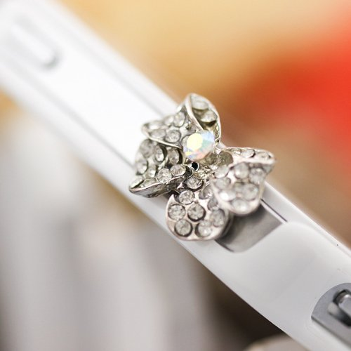 Shopping_Shop2000 Bling Crystal Earphone Jack Accessory 1Pc Of Ultra-Luxury Clear White Bow Design Anti Dust Plug Ear Jack For Iphone / Ipad / Ipod Touch / Other 3.5Mm Ear Jack