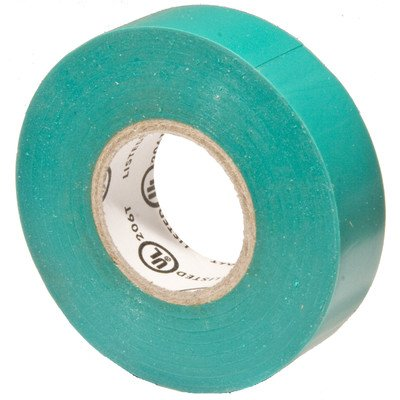 "Morris Products 60040 Polyvinylchloride General Purpose Electrical Tape, 8 Kv Dielectric Strength, 60' Length X 3/4"" Width, Green"