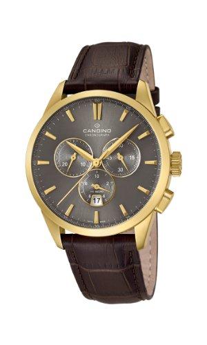 Candino C4518/2 - Reloj cronógrafo de cuarzo para hombre, correa de cuero color marrón (cronómetro)