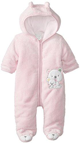 Absorba Baby-Girls Newborn G Bear Fuzzy Footie, Pink, 3-6 Months front-825344