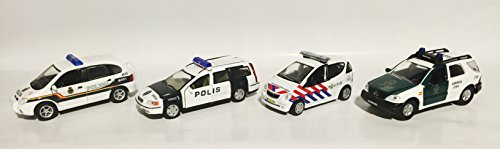 police-set-of-4-metal-models-in-scale-143-comes-with-amercom-magazine-renault-scenic-rx4-spanish-pol