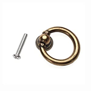 10x Furniture Hardware Drawer Drop Ring Pull Knob Bronze Tone / Antique Traditional Appearance, Solid Bronze Tone Ring Pull