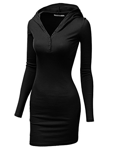 Doublju Womens Basic Cotton Long Sleeve Dress BLACK,XL