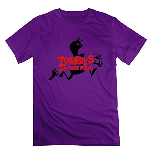 Men's Zombies Hate Fast Food Short-Sleeve T-shirt Purple M